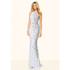 Slim Mermaid High Neck Backless Long White Jersey Unique Beaded Prom Dress