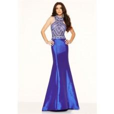 Slim Mermaid High Neck Open Back Royal Blue Taffeta Beaded Prom Dress