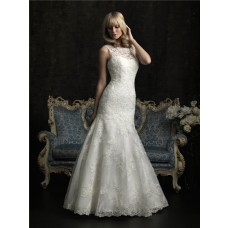 Slim Mermaid KeyHole Open Back Lace Wedding Dress With Chapel Train