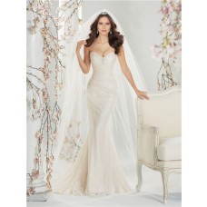 Slim Mermaid Sweetheart Corset Back Ivory Lace Wedding Dress With Sweep Train