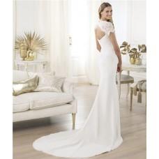 Slim Mermaid Sweetheart Open Back Short Sleeve Lace Chiffon Wedding Dress Backless