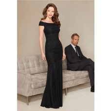 Slim Off The Shoulder Black Chiffon Ruched Special Occasion Evening Dress