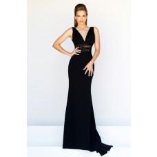 Slim Sheath V Neck Long Black Chiffon See Through Lace Formal Evening Prom Dress