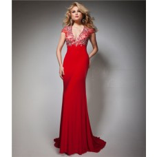 Slim V Neck Cap Sleeve Backless Long Red Chiffon Beaded Evening Prom Dress Open Back