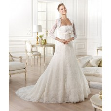 Strapless Empire Waist Maternity Beaded Lace Wedding Dress With Long Sleeve Jacket