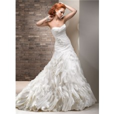 Stunning A Line Sweetheart Layered Ivory Organza Wedding Dress With Crystal