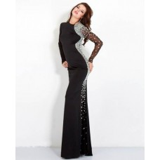 Stunning Fitted Long Sleeve Black Jersey Tulle Beaded Evening Prom Dress