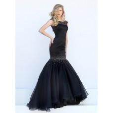 Stunning Mermaid Bateau Cap Sleeve Black Satin Organza Beaded Prom Dress