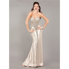 Stunning Mermaid Strapless Beige Satin Beaded Sparkly Evening Prom Dress