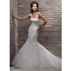 Stunning Mermaid Strapless Scalloped Neckline Lace Wedding Dress Corset Back
