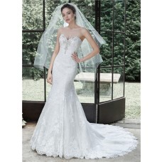 Stunning Mermaid Strapless Vintage Lace Crystal Beaded Corset Wedding Dress