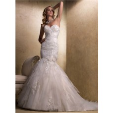 Stunning Mermaid Sweetheart Lace Tulle Wedding Dress With Corset Back