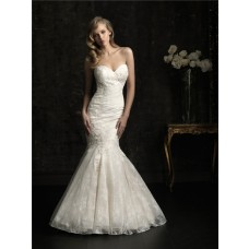 Stunning Mermaid Sweetheart Slim Fitted Ivory Lace Wedding Dress With Buttons