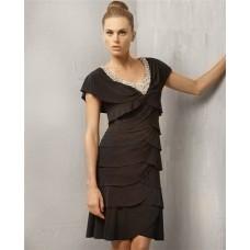 Stunning Sheath Cap Sleeve V Neck Short Black Tiered Cocktail Evening Dress