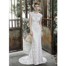 Stunning Sheath Scoop Neckline Cap Sleeve Vintage Lace Wedding Dress With Buttons