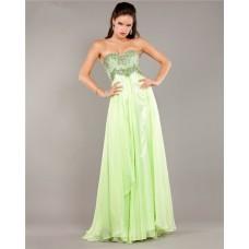 Stunning Strapless Empire Waist Long Light Green Chiffon Beaded Prom Dress