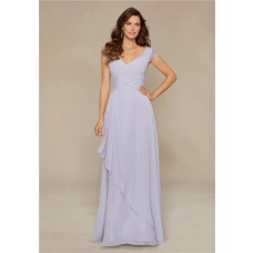 Stunning V Neck Long Violet Chiffon Beaded Mother Of The Bride Evening Dress