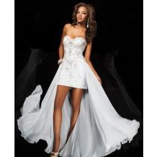 Sweet 16 High Low Hem Short Front Long Back White Chiffon Beaded Prom Dress