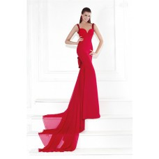 Sweetheart Backless Red Chiffon Evening Prom Dress With Bow Straps