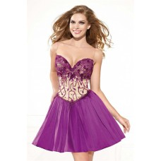 Sweetheart Open Back Purple Taffeta Beaded Prom Dress With Bow