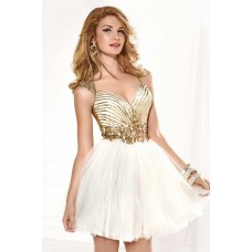 Sweetheart Open Back Short White Tulle Gold Sequined Homecoming Prom Dress
