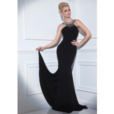 Tight Fitted Open Back Long Black Jersey Beaded Formal Occasion Evening Dress Sweep Train