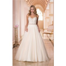 Traditional A Line Sweetheart Gold Embroidery Satin Tulle Wedding Dress With Belt