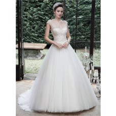 Traditional Ball Gown Cap Sleeve Backless Tulle Lace Beaded Wedding Dress