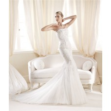 Traditional Mermaid Trumpet Strapless Tulle Venice Lace Wedding Dress