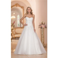 Traditional Princess A Line Strapless Tulle Lace Beaded Wedding Dress Corset Back