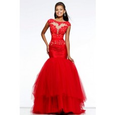 Trumpet Mermaid Cap Sleeve V Back Long Red Tulle Lace See Through Prom Dress