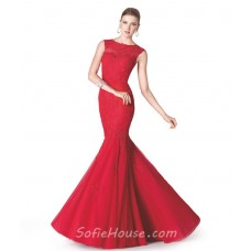 Trumpet Mermaid Scoop Neck Red Tulle Lace Flared Evening Prom Dress
