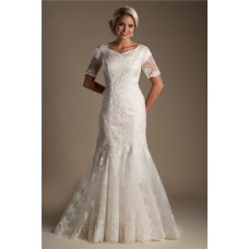 Trumpet Mermaid Short Sleeve Champagne Lace Modest Wedding Dress With Buttons
