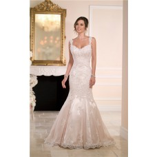 Trumpet Mermaid Sweetheart Backless Nude Satin Lace Wedding Dress With Straps