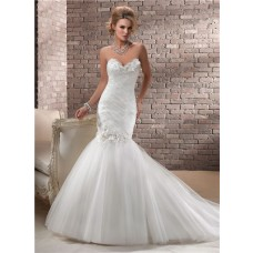 Trumpet/ Mermaid Sweetheart Corset Back Tulle Wedding Dress With Flowers