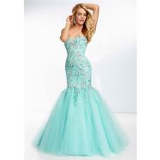 Trumpet Mermaid Sweetheart Long Aqua Tulle Lace Beaded Prom Dress Corset Back