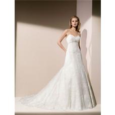 Trumpet Mermaid Sweetheart Neckline Spaghetti Strap Low Back Lace Beaded Wedding Dress