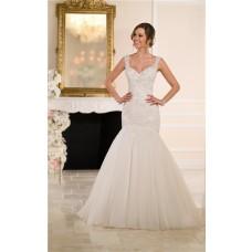 Trumpet Mermaid Sweetheart Open Back Tulle Lace Beaded Crystal Wedding Dress