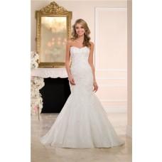 Trumpet Mermaid Sweetheart Organza Ruffle Lace Beaded Corset Wedding Dress
