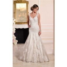 Trumpet Mermaid V Neck Backless Ivory Satin Lace Wedding Dress With Straps
