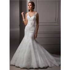 Trumpet / Mermaid V Neck Lace Beaded Wedding Dress With Flowers Sash Buttons