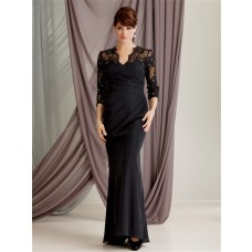Trumpet/Mermaid scalloped long black lace modest mother of the bride dress with sleeves