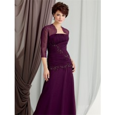 Elegant sheath strapless floor length purple chiffon mother of the bride dress with jacket