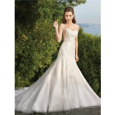 Trumpet/Mermaid sweetheart chapel train organza lace wedding dress