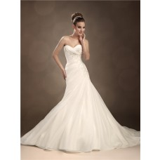 Trumpet/Mermaid sweetheart chapel train organza wedding dress with crystals