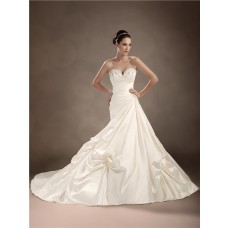 Trumpet/Mermaid sweetheart chapel train satin wedding dress with crystals