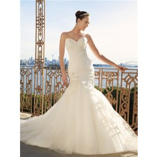 Trumpet/Mermaid sweetheart court train organza wedding dress