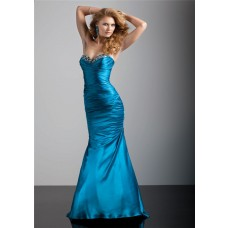 Trumpet/Mermaid sweetheart floor length blue silk prom dress with corset back