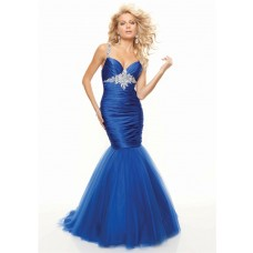 Trumpet/Mermaid sweetheart floor length royal blue prom dress with straps