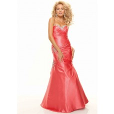 Trumpet/Mermaid sweetheart floor length watermelon beaded taffeta prom dress